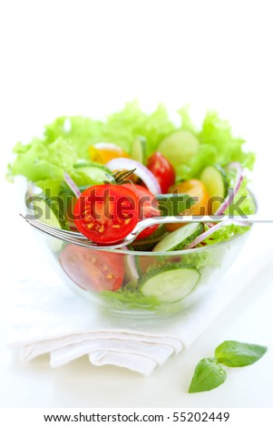 fresh salad with tomato and cucumber
