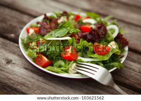 fresh salad with tomato and cucumber.green salad - stock photo