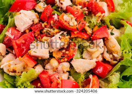 fresh salad with tomato and meat - stock photo