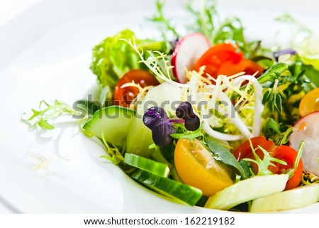 fresh salad with tomatoes, cucumber and greens - stock photo