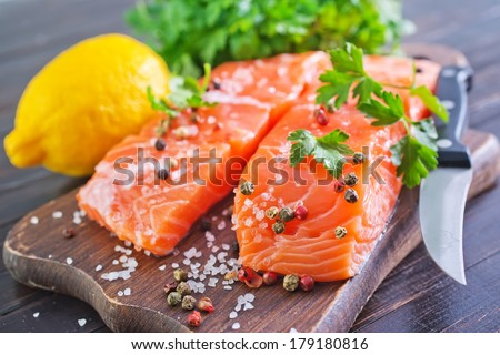 fresh salmon - stock photo