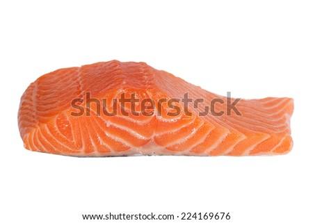 Fresh salmon fillet isolated on white. - stock photo