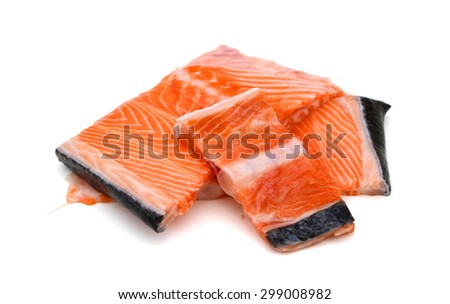 fresh salmon fillet on white background