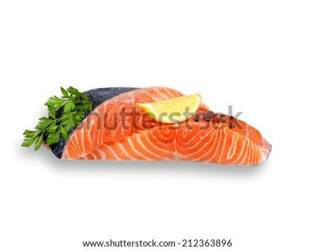 Fresh salmon isolated on a white background - stock photo