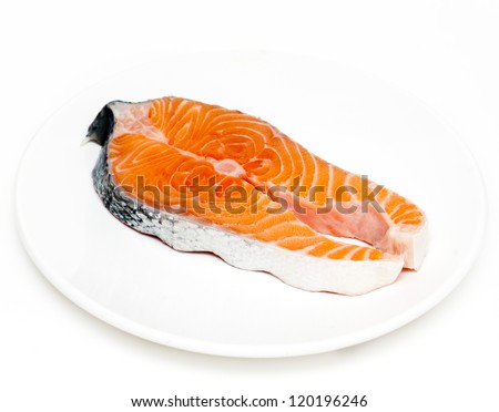 Fresh Salmon on a plate isolated on white background