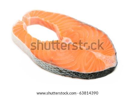 Fresh salmon steak in isolated white background - stock photo