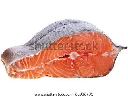 Fresh Salmon Steak isolated  on white background