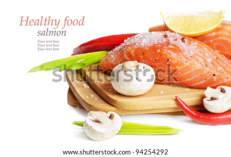 Fresh salmon with vegetables isolated on white background - stock photo