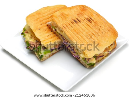 fresh sandwich close up with vegetables and meat fish isolated on white background - stock photo