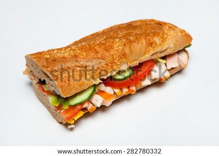 Fresh sandwich isolated on white - stock photo