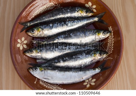 Fresh sardines in a great plate with amazing light - stock photo