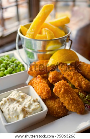 Fresh Scampi and chips pub meal