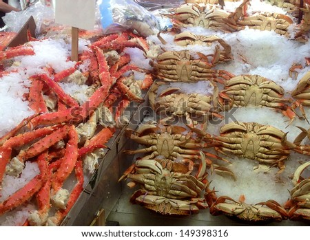 Fresh seafood for sale at Pike Place Market - stock photo