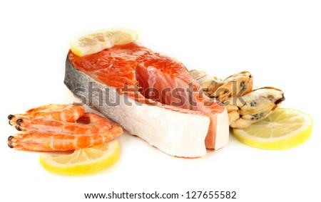 Fresh seafood isolated on white - stock photo