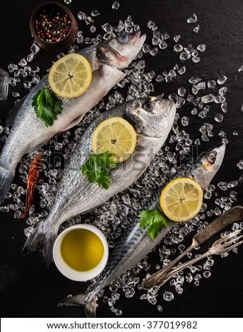 Fresh seafood on black stone, close-up. - stock photo