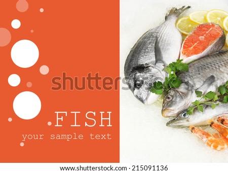 Fresh seafood on ice - stock photo