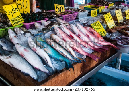 fresh seafood on the market in Thailand - stock photo