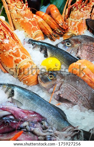 Fresh seafood photographed in fish market