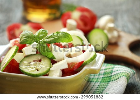 fresh seasonal salad - stock photo