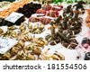 Fresh shellfish stall in La Boqueria, Barcelona. - stock photo