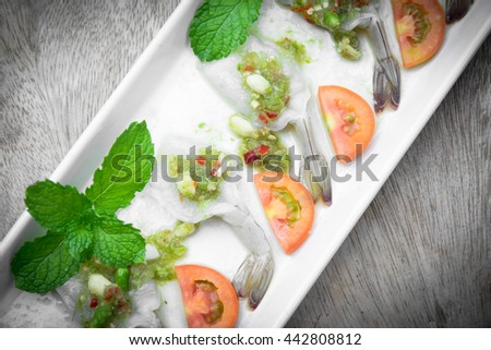 Fresh shrimp and spicy fish sauce, delicious of thai food - stock photo