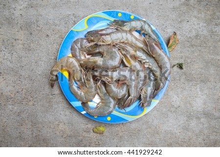 Fresh shrimp prepare for cook - stock photo