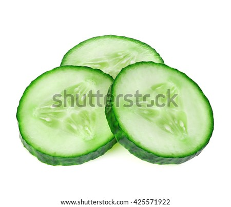 Fresh slice cucumber close-up on a white background.