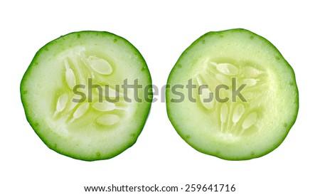 Fresh slice cucumber isolated on white background - stock photo