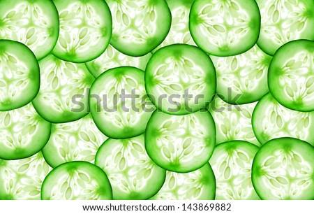Fresh slice cucumber on white background - stock photo
