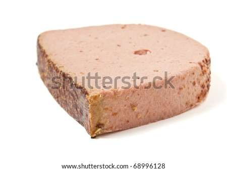 Fresh slice of Liver pate isolated on white.