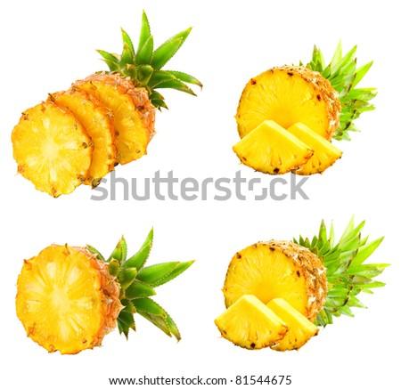 Fresh slice pineapple isolated over white background. - stock photo