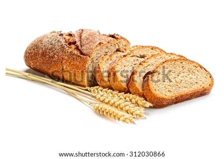 fresh sliced bread  and wheat on white - stock photo