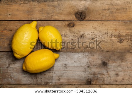 Fresh sliced lemon on wooden table. Top view.  - stock photo