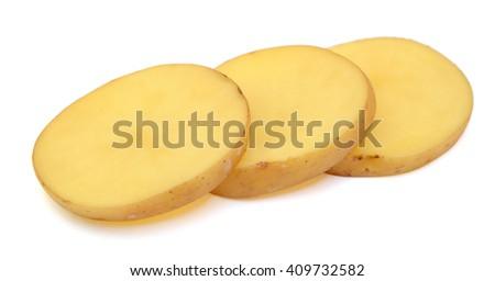 Fresh Sliced potatoe isolated on white background - stock photo