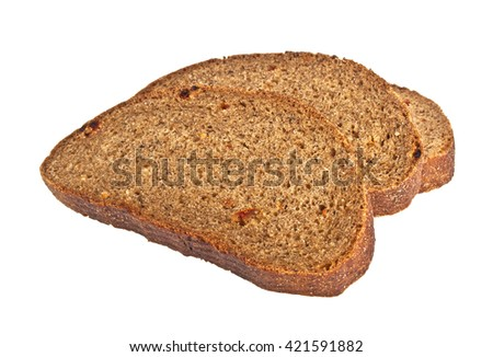 Fresh sliced rye bread loaf isolated on white background - stock photo