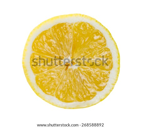 Fresh sliced Yellow Lime, Lemon rich witch vitamin C isolated on white bacground - stock photo