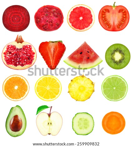 fresh slices of fruits and vegetables on a white background - stock photo