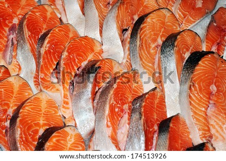Fresh slices of salmon - stock photo