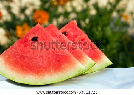 Fresh slices of watermelon. - stock photo