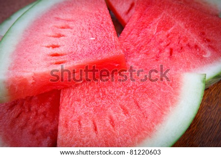 fresh slices of watermelon - stock photo