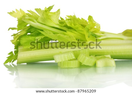 fresh slised green celery isolated on white