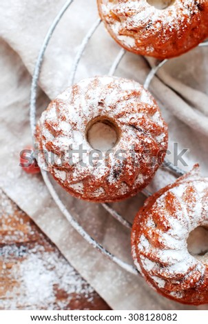 Fresh Small Baked Cakes Dusted with Icing Sugar on Linen Napkin. Top view - stock photo