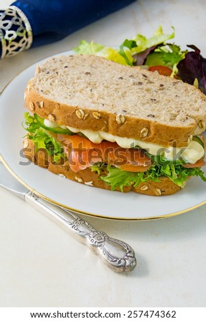 Fresh smoked Salmon and Salad Sandwich with room for text