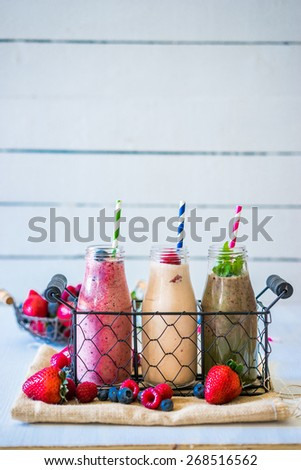 Fresh smoothies - stock photo