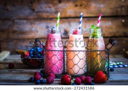 Fresh smoothies - stock photo