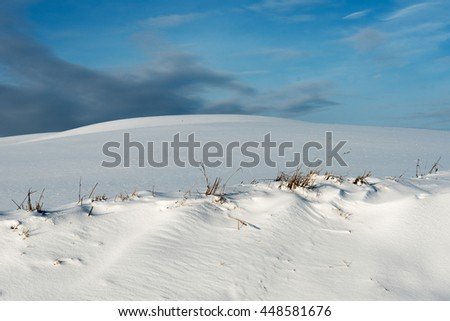 Fresh snow in winter time. - stock photo