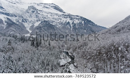 Fresh snowfall covering a forest and mountain paths and rivers in the  French Alps