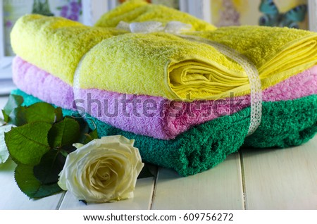 fresh soft terry multicolored towels smelling stock photo 609756272 shutterstock. Black Bedroom Furniture Sets. Home Design Ideas