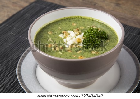 Fresh soup with the green peas
