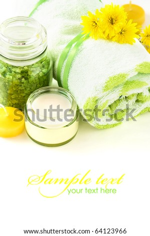 Fresh spa composition with space for text - stock photo